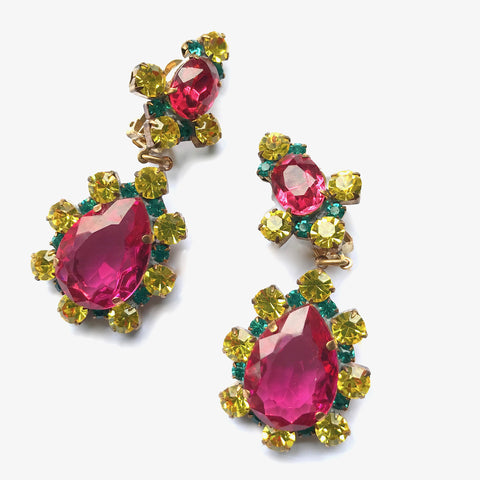 Colourful Czech Raspberry Red, Yellow and Green Earrings - New!