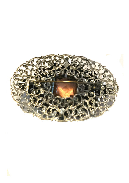 Vintage Czech 1930s Oval Filigree Brooch - New!