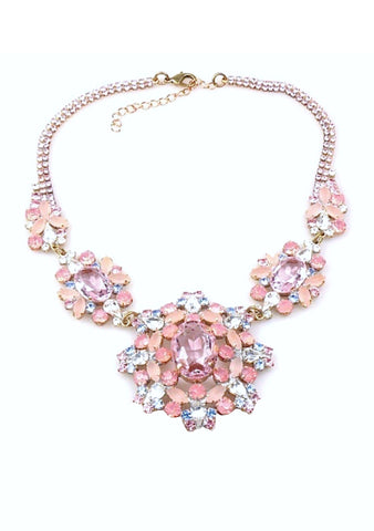 Beautiful Rose Pink Crystal Czech Necklace - New!
