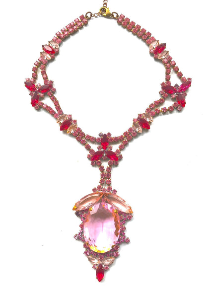 Tourmaline Pink Large Central Drop Czech Necklace