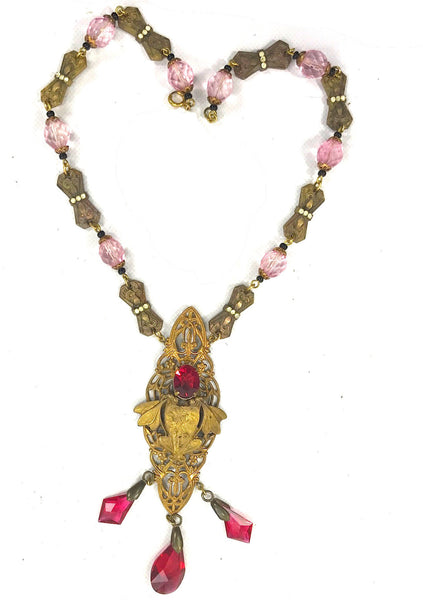 Vintage 1920s Art Nouveau Pink Glass Necklace - New!