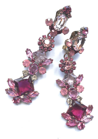 Gorgeous Pink Tourmaline Czech Earrings