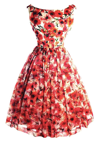 1950s Orange Poppy Print Chiffon Party Dress - SOLD