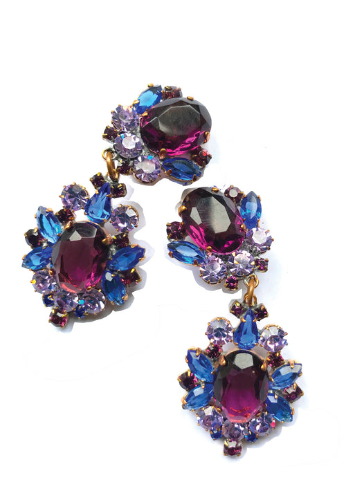 Amazing Czech Purple, Blue and Violet Crystal Earrings