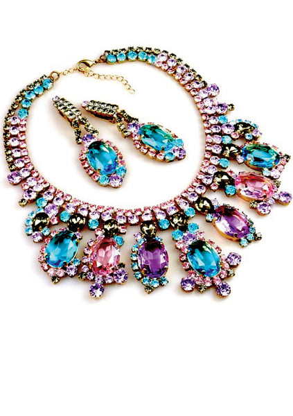 Pink, Blue and Lilac Necklace & Earrings Set - New