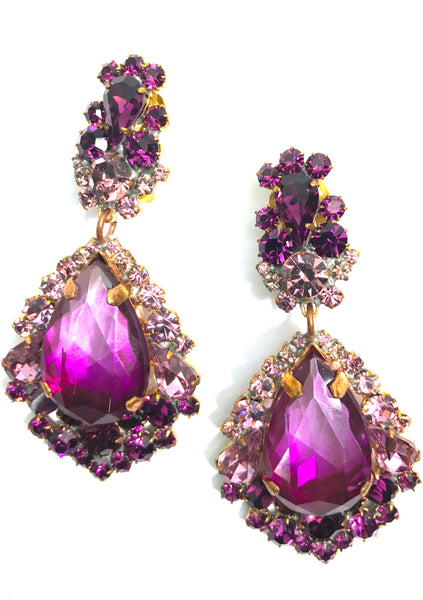 Dramatic Graduated Purple Amethyst Crystal Earrings - New!