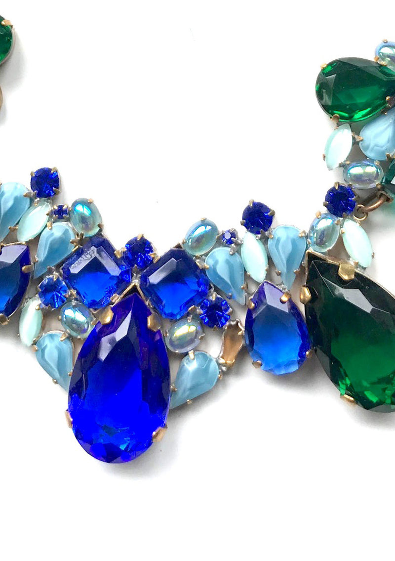 Sapphire Blue and Emerald Green Crystal Necklace