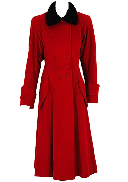 Dramatic 1940s Red Wool Coat with Curly Lamb Collar- New!