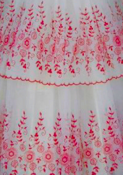 Vintage 1950s White Chiffon with Red Flocking Party Dress