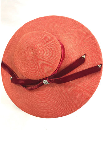 Stylish Vintage 1950s Red Platter Hat - New!