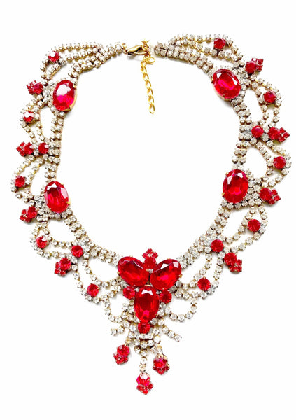 Vintage Ruby Red and Clear Czech Rhinestone Necklace - New!