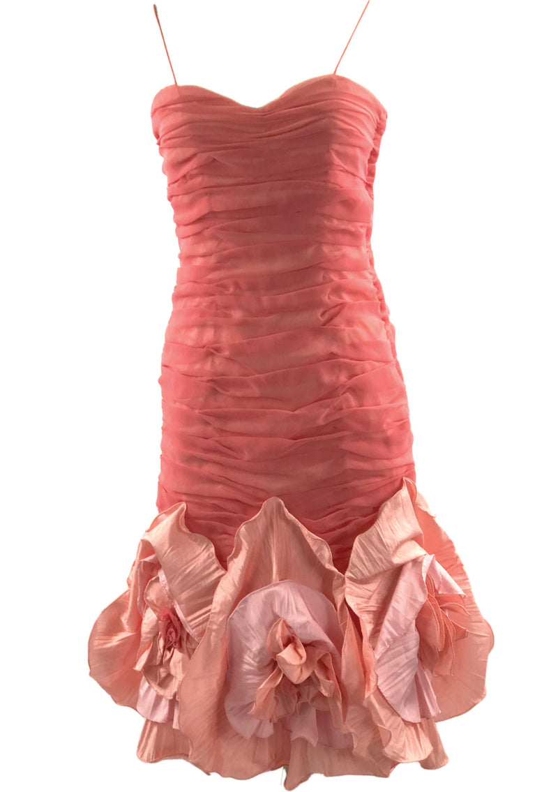 1980s 3D Coral Chiffon Designer Party Dress  - New!