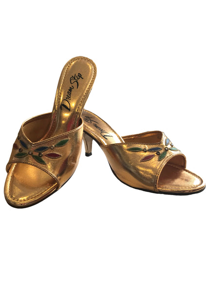 1960s Gold Pump Embroidered & Jewelled Shoes - New!