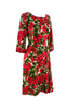 Early 1960s Quality Red Floral Silk Dress- New!