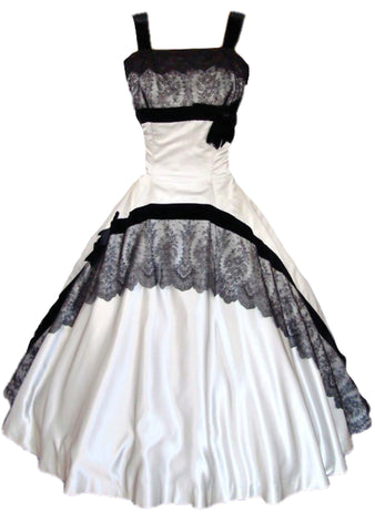 Vintage 1950s Silver Satin & Black Lace Party Dress Ensemble