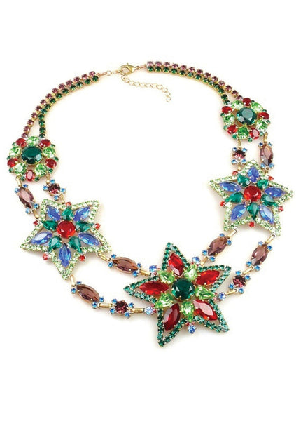 Multi-coloured Star Czech Crystal Necklace- New!