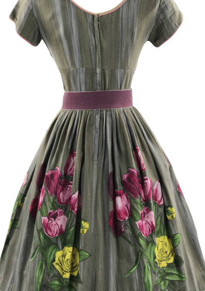 Vintage 1950s Pink & Purple Tulips Roses Cotton Day Dress - New!