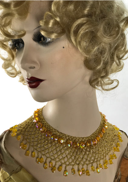 Large Vintage 1960s Golden Beaded Collar Necklace