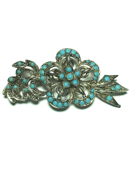 Vintage 1960s Turquoise Blue Glass Stones Brooch - New!
