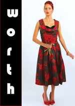 1950s House of Worth Couture Red Roses Party Dress  - New!