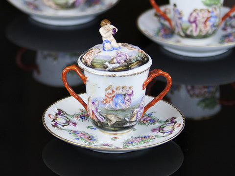 19th C. Ginori Doccia Lidded Cup and Saucer