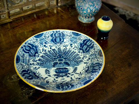 18th C. Delft Peacock Earthenware Charger