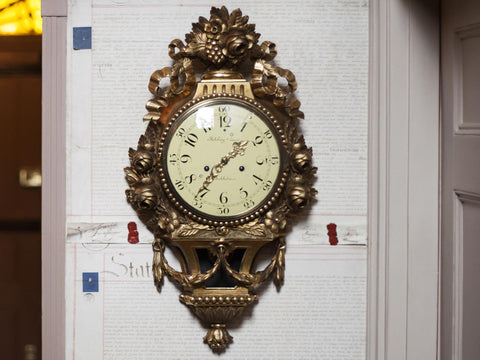 19th C. Gustavian Wall Clock - Robert Engstrom