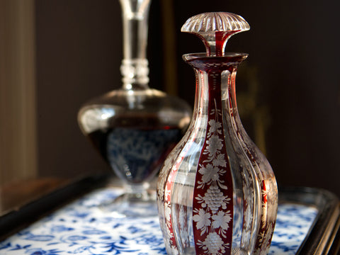 19th C. Bohemian Engraved Ruby Glass Decanter