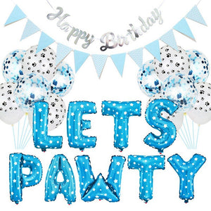 Pet Dog Cat Birthday Party Decoration Set LETS PAWTY Party Balloon