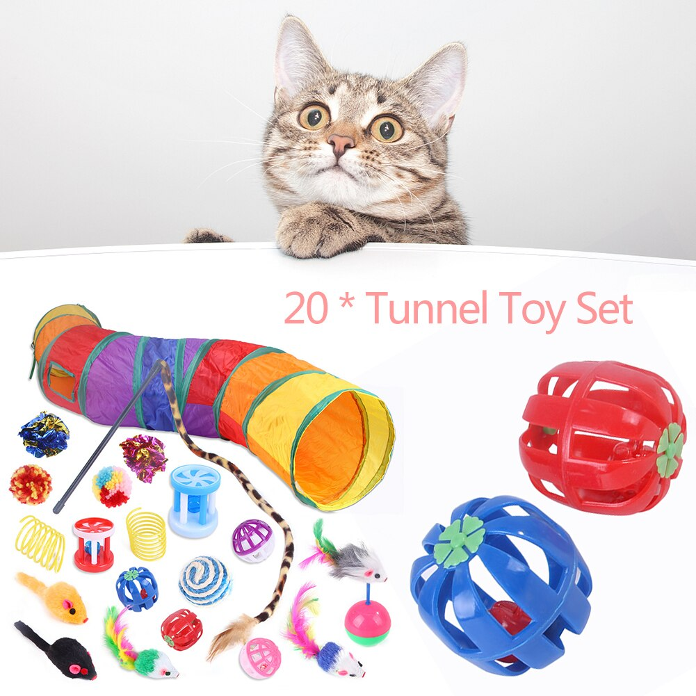 20pcs Cat Tunnel Toys Kit Funny Pet Cat Cave Tunnel Cat Play Rainbown Tunnel