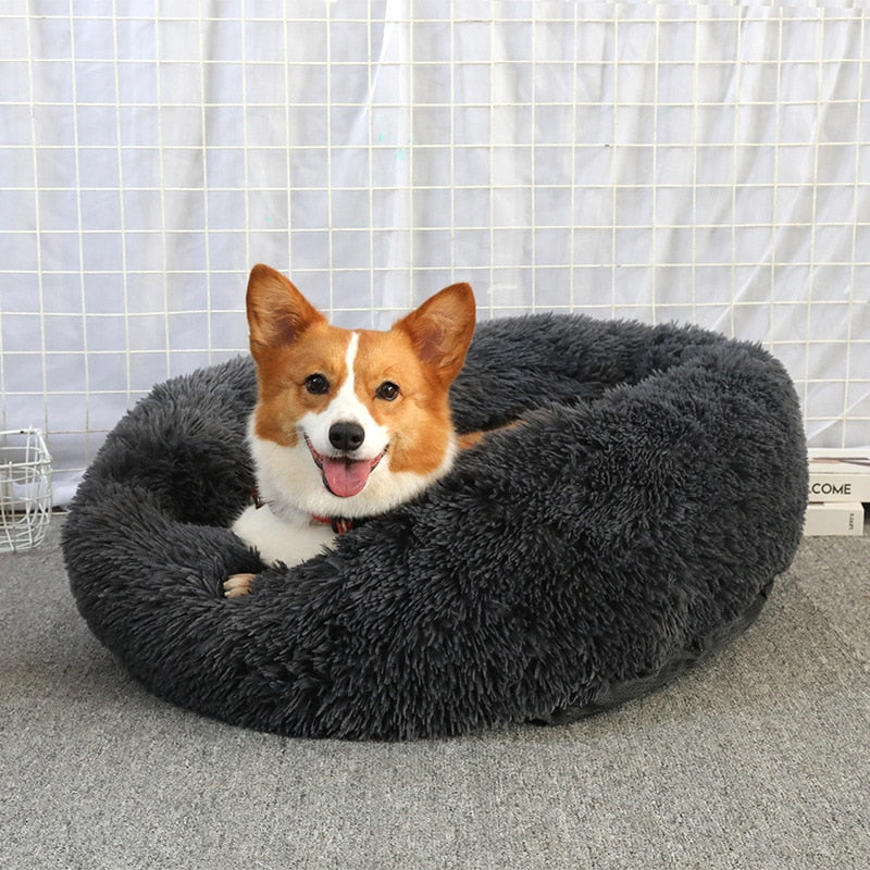 Pet Dog Cat Soft Plush Pillow Bed Donut Shaped Mats Cozy Cushion