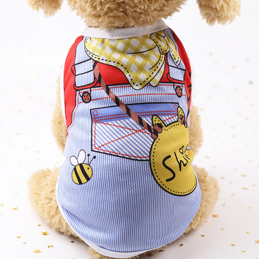 Fashion Sky Blue Summer Pet Dog Clothes Puppy Dog Cat Vest Shirt Fake Strap Vest