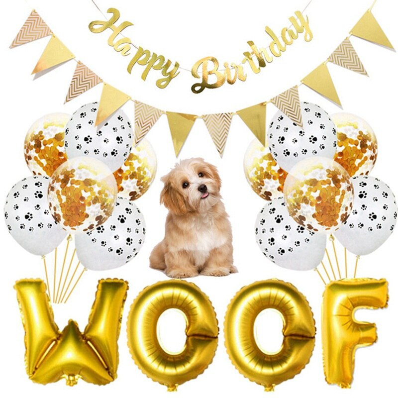 Pet Dog Happy Birthday Banner Flag WOOF Letters Balloon