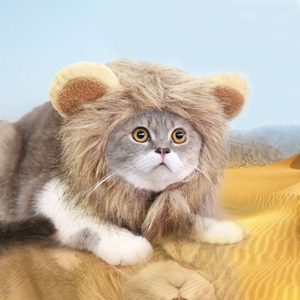Lion Mane Cat Costume Cap with Ears Kitten Adjustable Prop Dress Up Hat