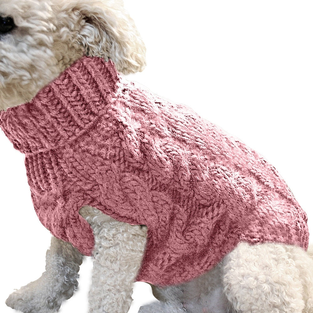 Winter Dog Sweater Warm Clothes For Pets Turtleneck Knitted Vest