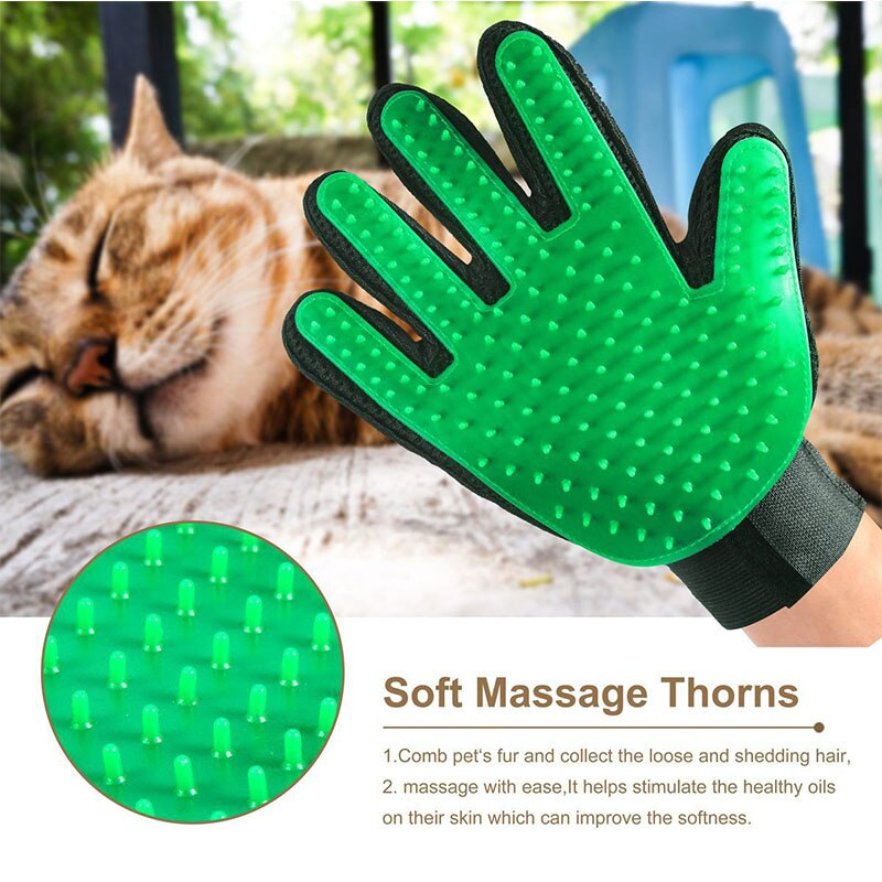 Pet Brush Glove Comb Cats Dogs Grooming Pet Shedding Salon Gloves