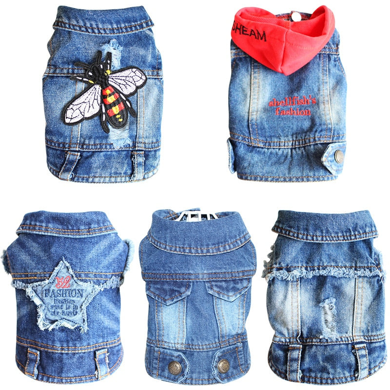 Cool Dog Jacket Puppy Dog Clothes Denim Coat Jeans Pet Outfits