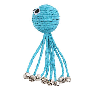 Baby Octopus Woven By Paper Rope Scratch Resistant Pet Playing Toy