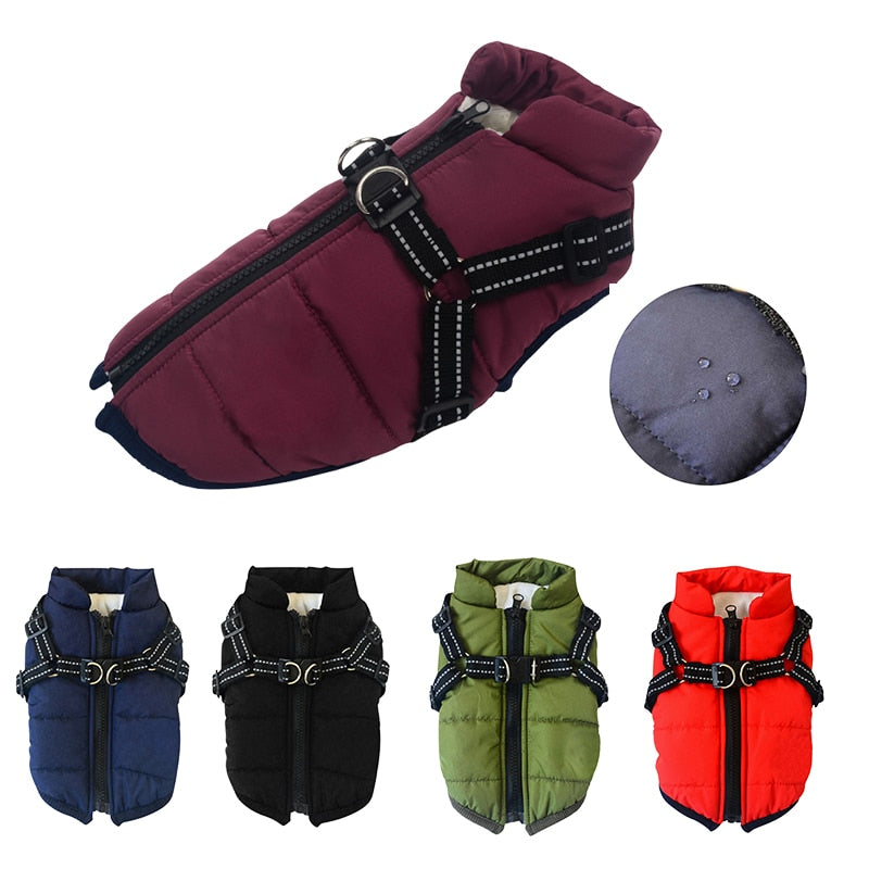 Winter Pet Dog Clothes Soft Warm Jacket With Harness Waterproof Coat Outfit