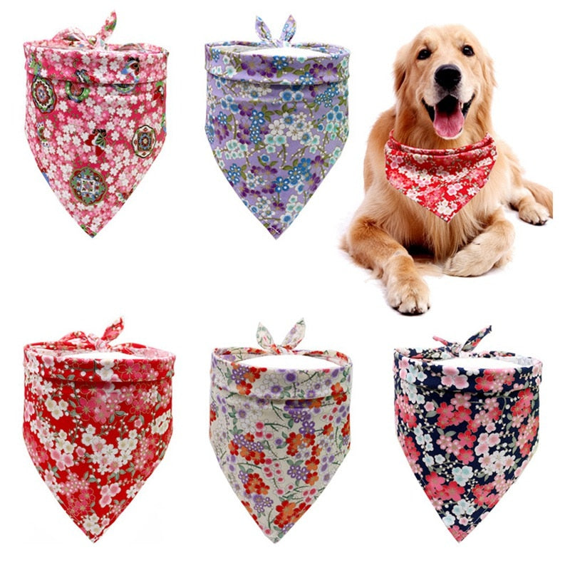Dog Bandana Floral Printed Pet Dog Scarf Adjustable Bibs Dog Neckerchief