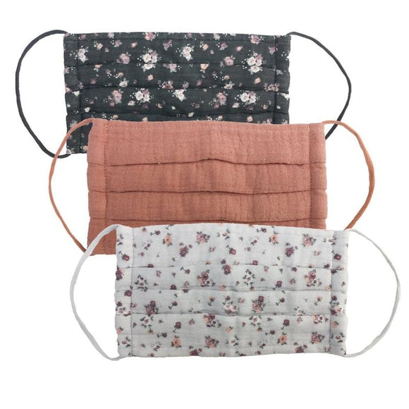 Cotton Face Mask 3pc Set - Vintage Floral