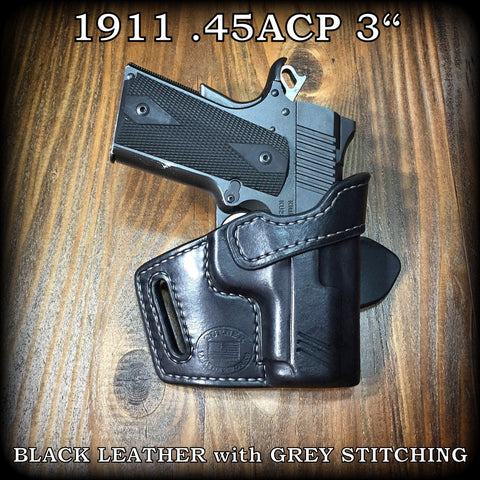 "Custom Leather 3"" 1911 Holster made in Texas Kimber Ultra Colt Micro Compact"