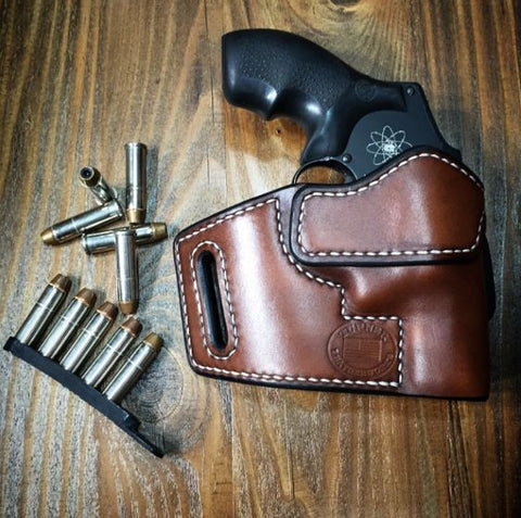 Custom Leather Holster for S&W Smith and Wesson J-Frame 5 Shot Snub Nosed Revolver 2""