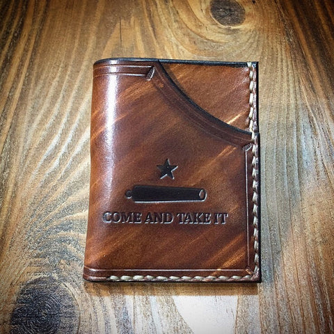 Leather Minimalist Front Pocket Wallet (Come and Take It)