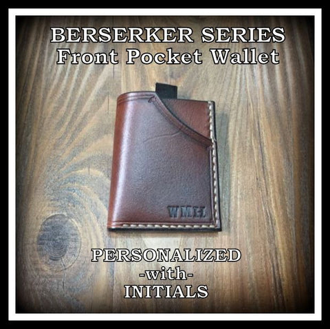 Handmade full grain cowhide Leather Minimalist Front Pocket Wallet MADE IN THE USA personalized with initials
