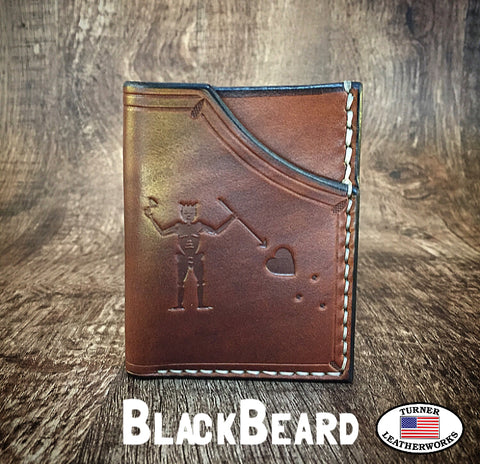 Handmade full grain cowhide Leather Minimalist Front Pocket Wallet BLACKBEARD MADE IN THE USA