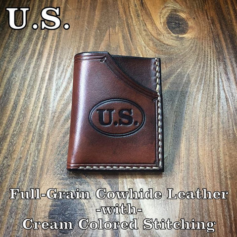 Handmade Leather Minimalist Front Pocket Wallet U.S. C.S.A. civil war