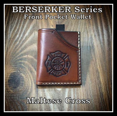 Handmade full grain leather front pocket minimalist wallet with firefighter maltese cross