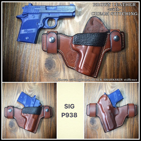 Custom leather OWB holster for Sig P938 9mm