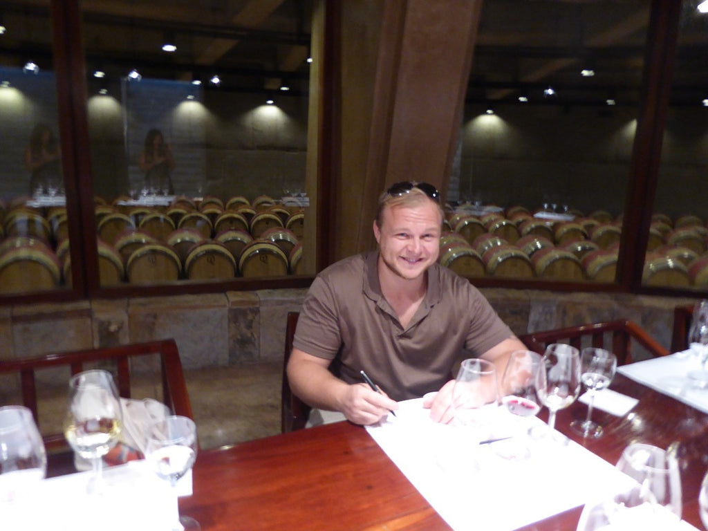 Fintan Kerr tasting Mendoza wine to fill the Wine Check